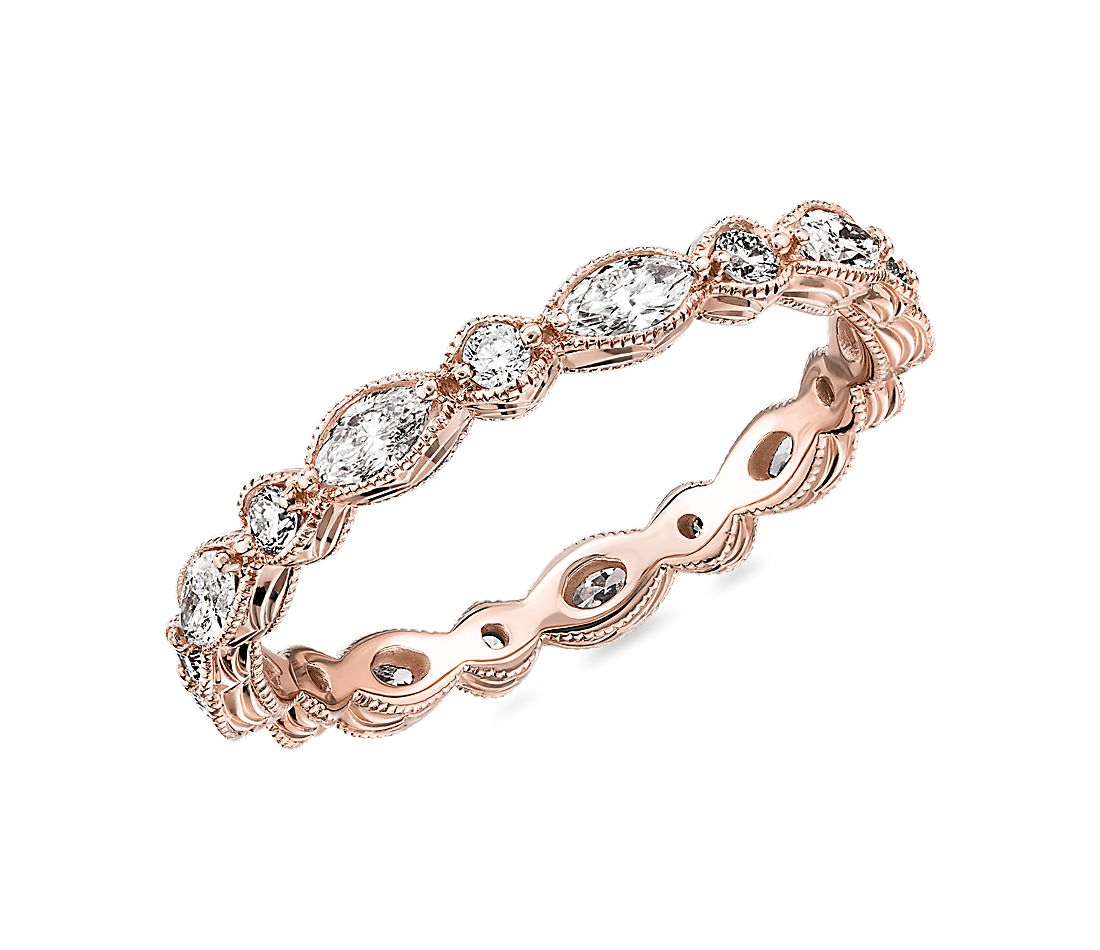 Monique Lhuillier Alternating Marquise & Round Eternity Band in 18k Rose Gold (5/8 ct. tw.)