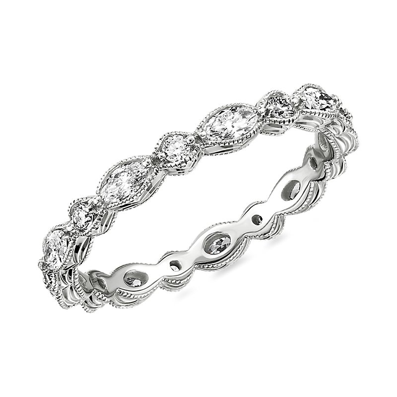 Monique Lhuillier Alternating Marquise & Round Eternity Band in P