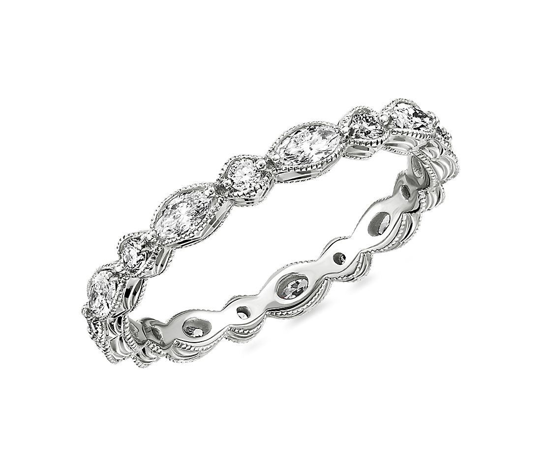 Monique Lhuillier Alternating Marquise & Round Eternity Band in Platinum (5/8 ct. tw.)