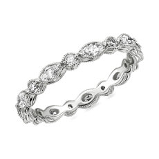 Monique Lhuillier Alternating Marquise & Round Eternity Band in Platinum