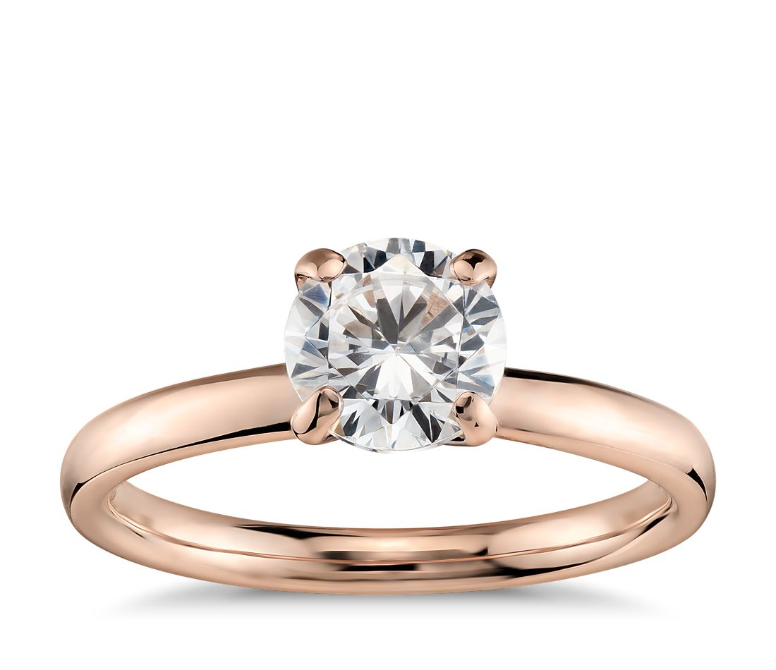 monique lhuillier amour solitaire 18k rose gold rose gold wedding rings Monique Lhuillier Amour Solitaire Engagement Ring in 18k Rose Gold