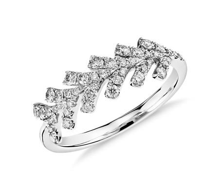 Monique Lhuillier Wishbone Diamond Ring in Platinum
