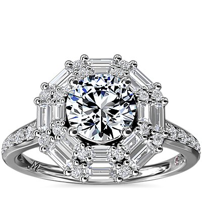 Monique Lhuillier Baguette Halo Diamond Engagement Ring in Platinum (2/3 ct. tw.)