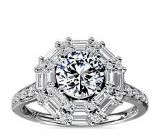 Monique Lhuillier Baguette Halo Diamond Engagement Ring in Platinum (2/3 ct. tw.)