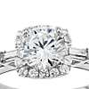 Monique Lhuillier Baguette Halo Diamond Engagement Ring in Platinum