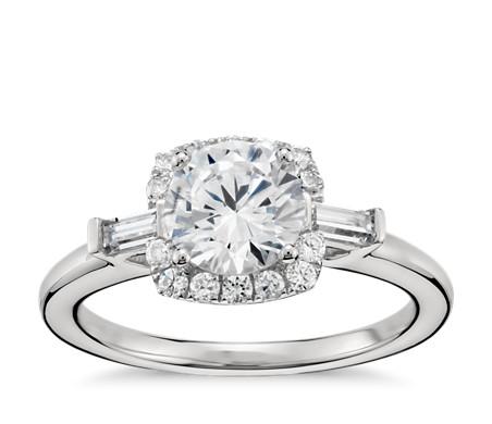 Monique Lhuillier Baguette Halo Diamond Engagement Ring In Platinum Blue Nile