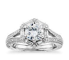 铂金 Monique Lhuillier 六边形长方形钻石订婚戒指<br>(1/2 克拉总重量)