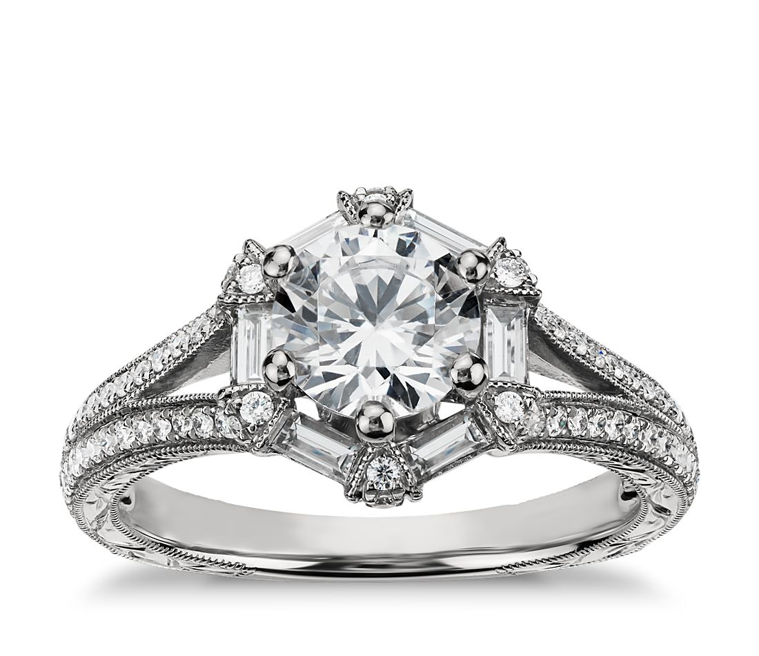 monique lhuillier hexagon baguette diamond engagement ring in 18k white gold - Wedding Ringscom