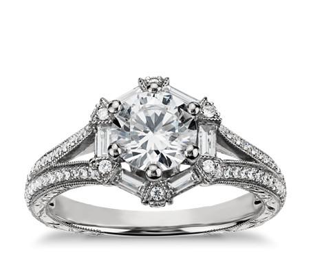 Monique Lhuillier Hexagon Baguette Diamond Engagement Ring in 18k White Gold