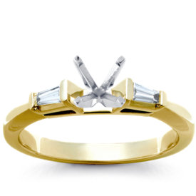 Monique Lhuillier Hexagon Baguette Diamond Engagement Ring in 18k White Gold