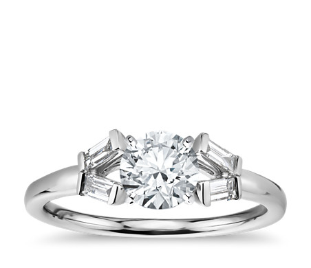 Monique Lhuillier Baguette Solitaire Diamond Engagement Ring in Platinum (1/8 ct. tw.)