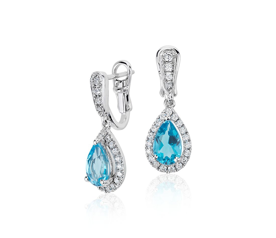 Monique Lhuillier Beloved Blue Topaz And Diamond Pearshaped Earrings In  18k White Gold