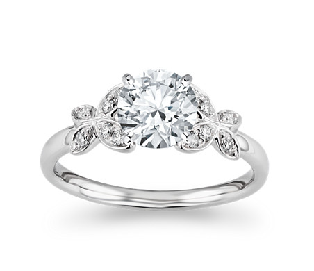 Monique Lhuillier Butterfly Diamond Engagement Ring in Platinum (1/10 ct. tw.)