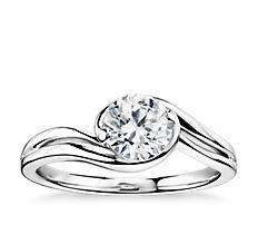 Monique Lhuillier Bypass Solitaire Engagement Ring in Platinum
