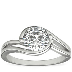 Monique Lhuillier Bypass Solitaire Engagement Ring in Platinum