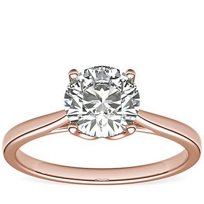 NEW Monique Lhuillier Cathedral Solitaire Engagement Ring in 18k Rose Gold