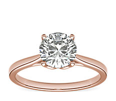 Monique Lhuillier Cathedral Solitaire Engagement Ring in 18k Rose Gold