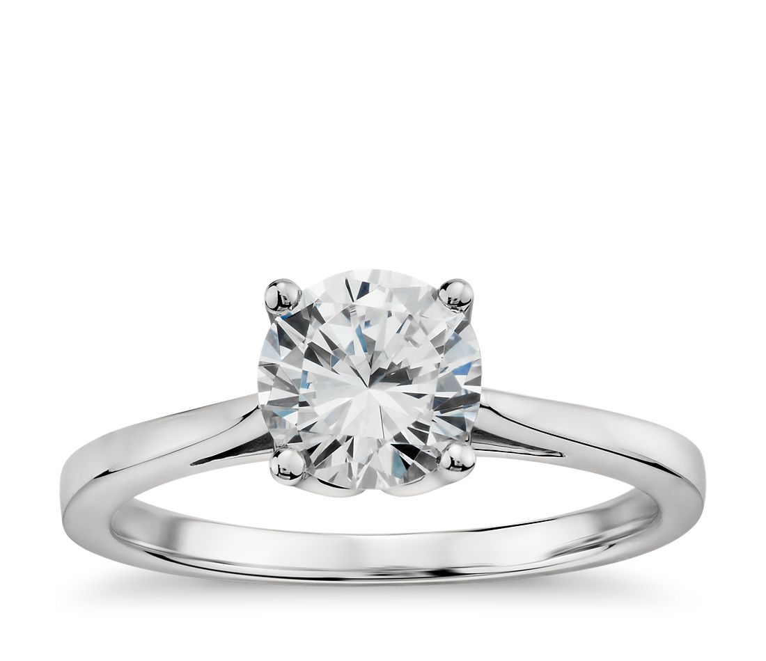 Monique Lhuillier Cathedral Solitaire Engagement Ring in 18k White Gold