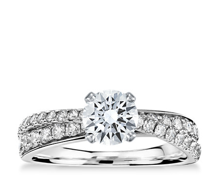 Monique Lhuillier Timeless Twist Diamond Engagement Ring in Platinum (1/2 ct. tw.)