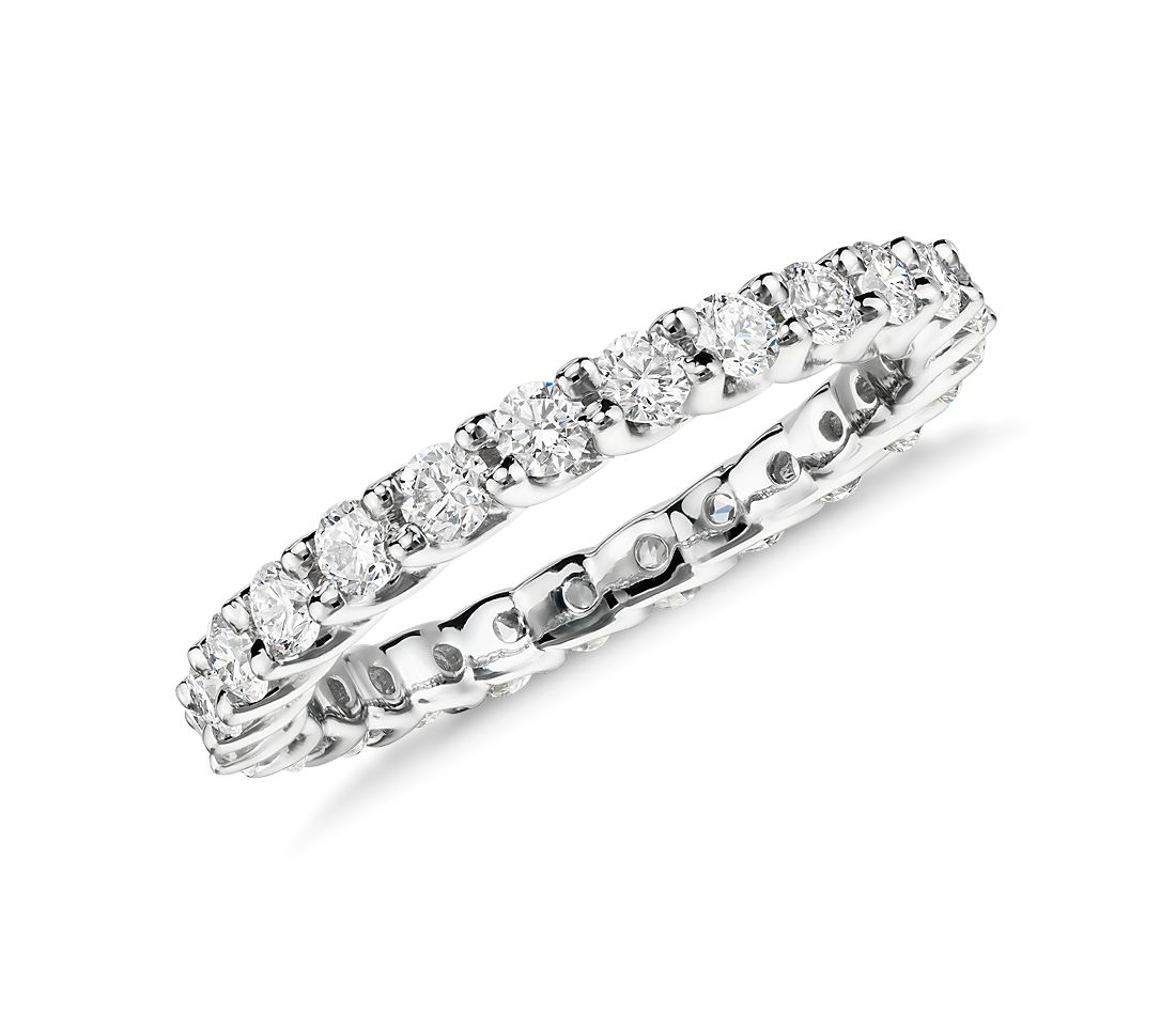 monique lhuillier crown diamond eternity ring in platinum 1 ct tw - Crown Wedding Rings