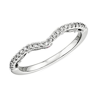 Monique Lhuillier Curved Diamond Ring with Draped Eternal Profile in Platinum