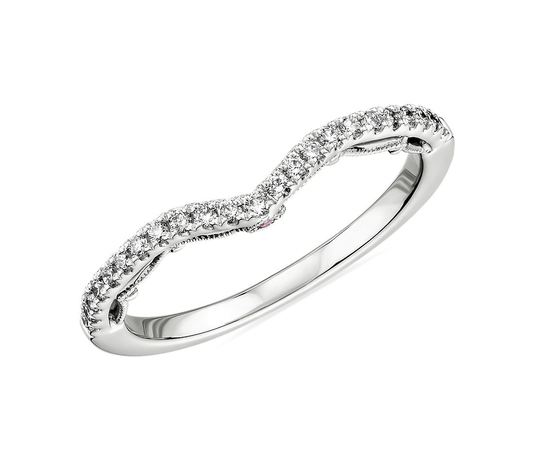 Monique Lhuillier Curved Diamond Ring with Draped Eternal Profile in Platinum (1/5 ct. tw.)