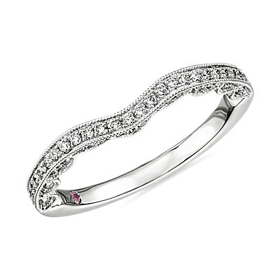 NEW Monique Lhuillier Curved Band with Scallop Profile in Platinum (1/4 ct. tw.)