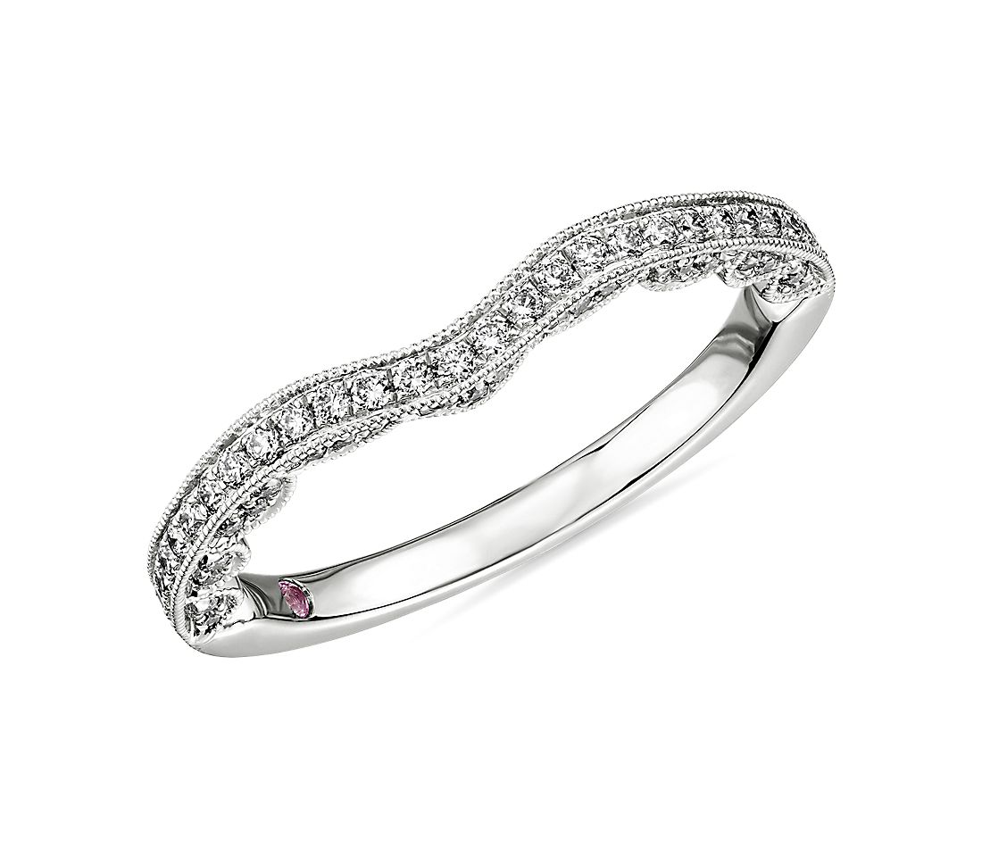 Monique Lhuillier Curved Band with Scallop Profile in Platinum