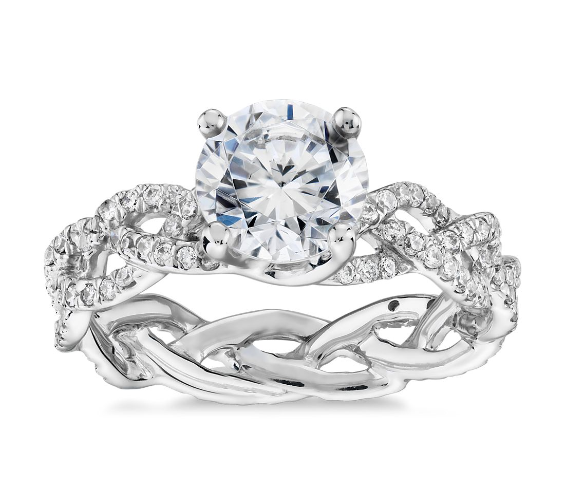 Monique Lhuillier Diamond Braid Eternity Engagement Ring in Platinum (1/2 ct. tw.)