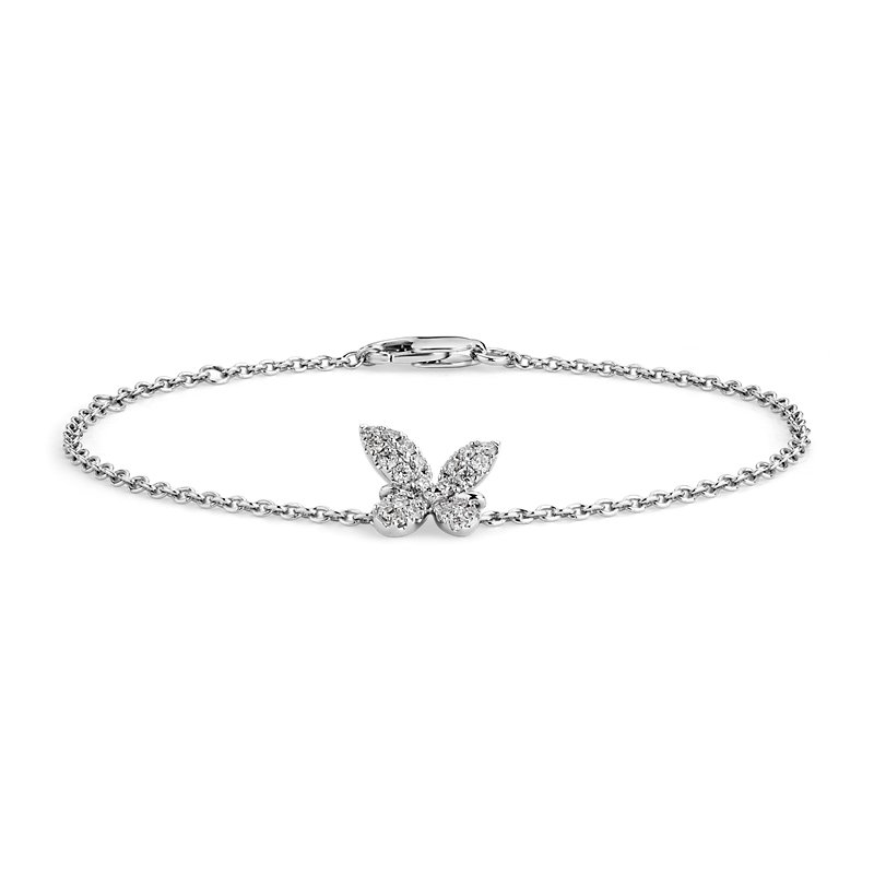 Monique Lhuillier Diamond Butterfly Bracelet in 18k White Gold (1