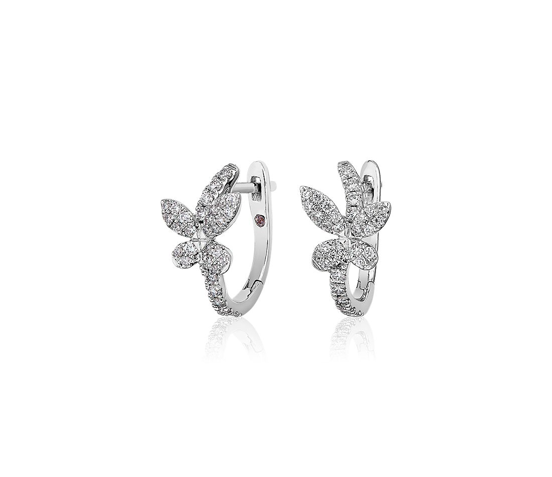 Monique Lhuillier Diamond Butterfly Hoop Earrings in 18k White Gold (3/8 ct. tw.)