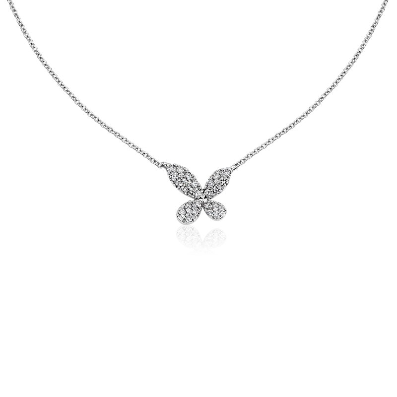 Monique Lhuillier Diamond Butterfly Necklace in 18k White Gold (1