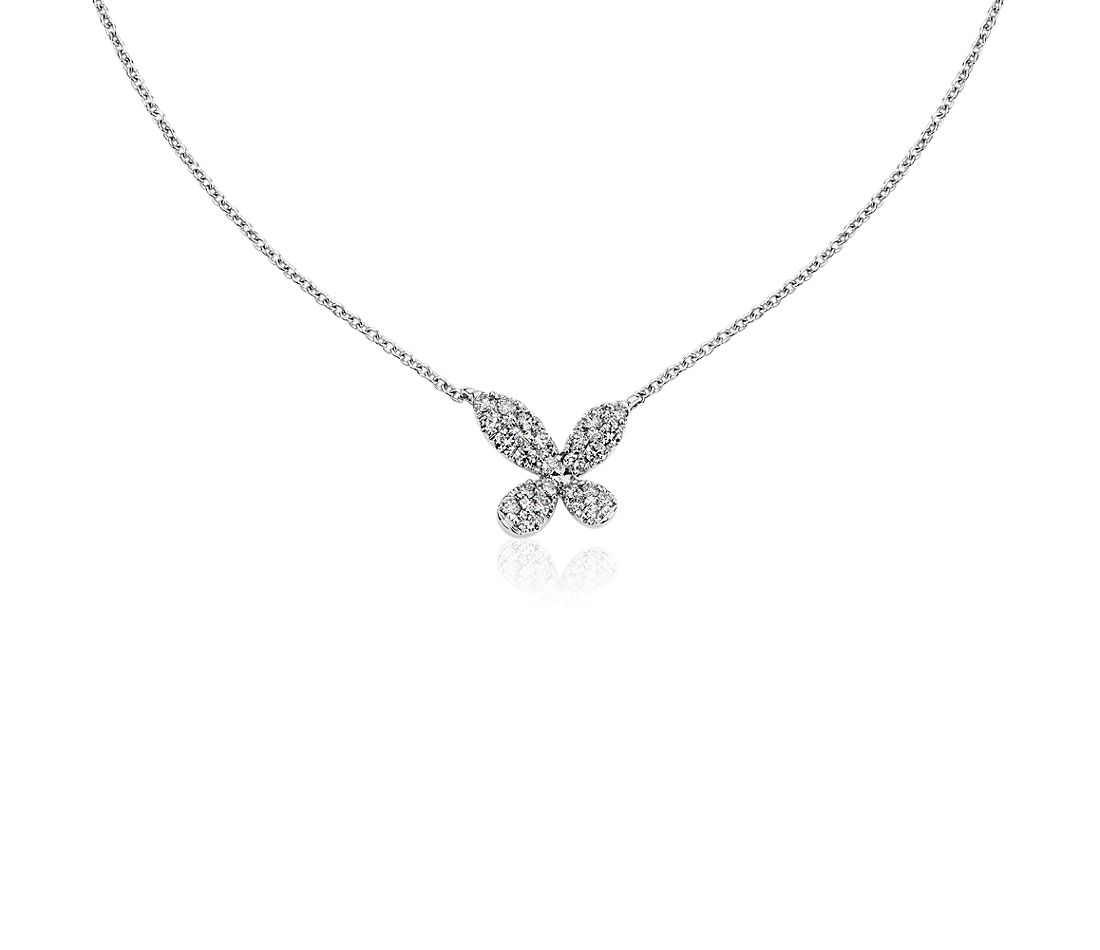 Monique Lhuillier Diamond Butterfly Necklace in 18k White Gold (1/3 ct. tw.)