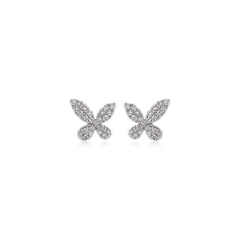 Monique Lhuillier Diamond Butterfly Stud Earrings in 18k White Go