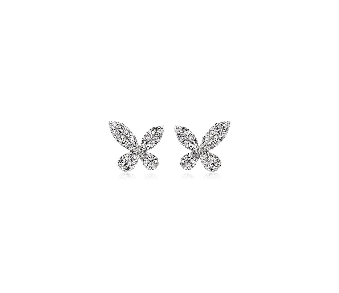 Monique Lhuillier Diamond Butterfly Stud Earrings in 18k White Gold (1/4 ct. tw.)