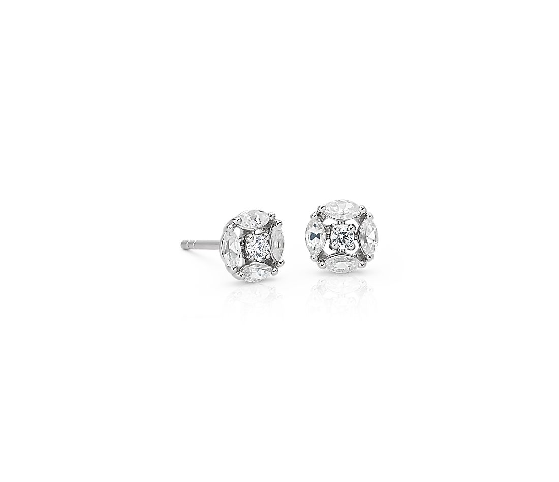 Monique Lhuillier Cherie Diamond Button Earrings in 18k White Gold
