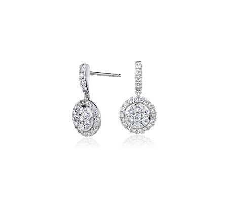 Monique Lhuillier Diamond Floral Earrings in18k White Gold (1/2 ct.tw.)
