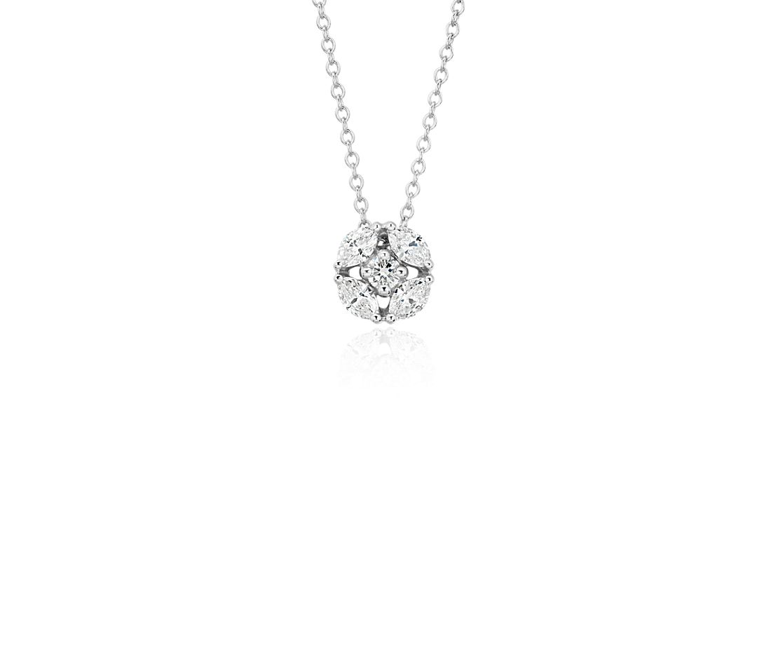 Monique Lhuillier Cherie Diamond Button Pendant in 18k White Gold