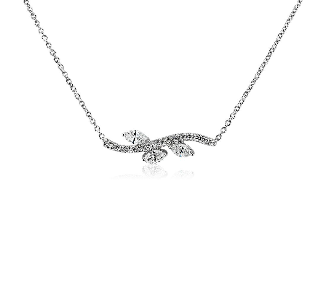 Monique Lhuillier Diamond Foliage Necklace in 18k White Gold (3/8 ct. tw.)