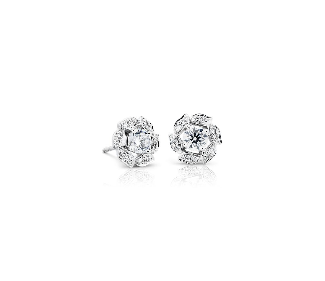 Monique Lhuillier Diamond Halo Floral Stud Earrings in 18k White Gold (1/2 ct. tw.)