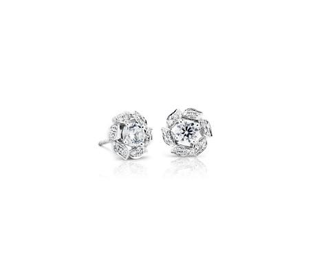 Puces d'oreilles florales halo de diamants Monique Lhuillier en or blanc 18carats (1/2carat, poids total)
