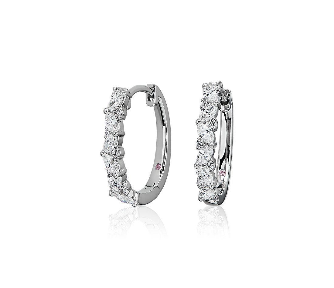 Monique Lhuillier Diamond Hinged Hoop Earrings in 18k White Gold (1 ct. tw.)