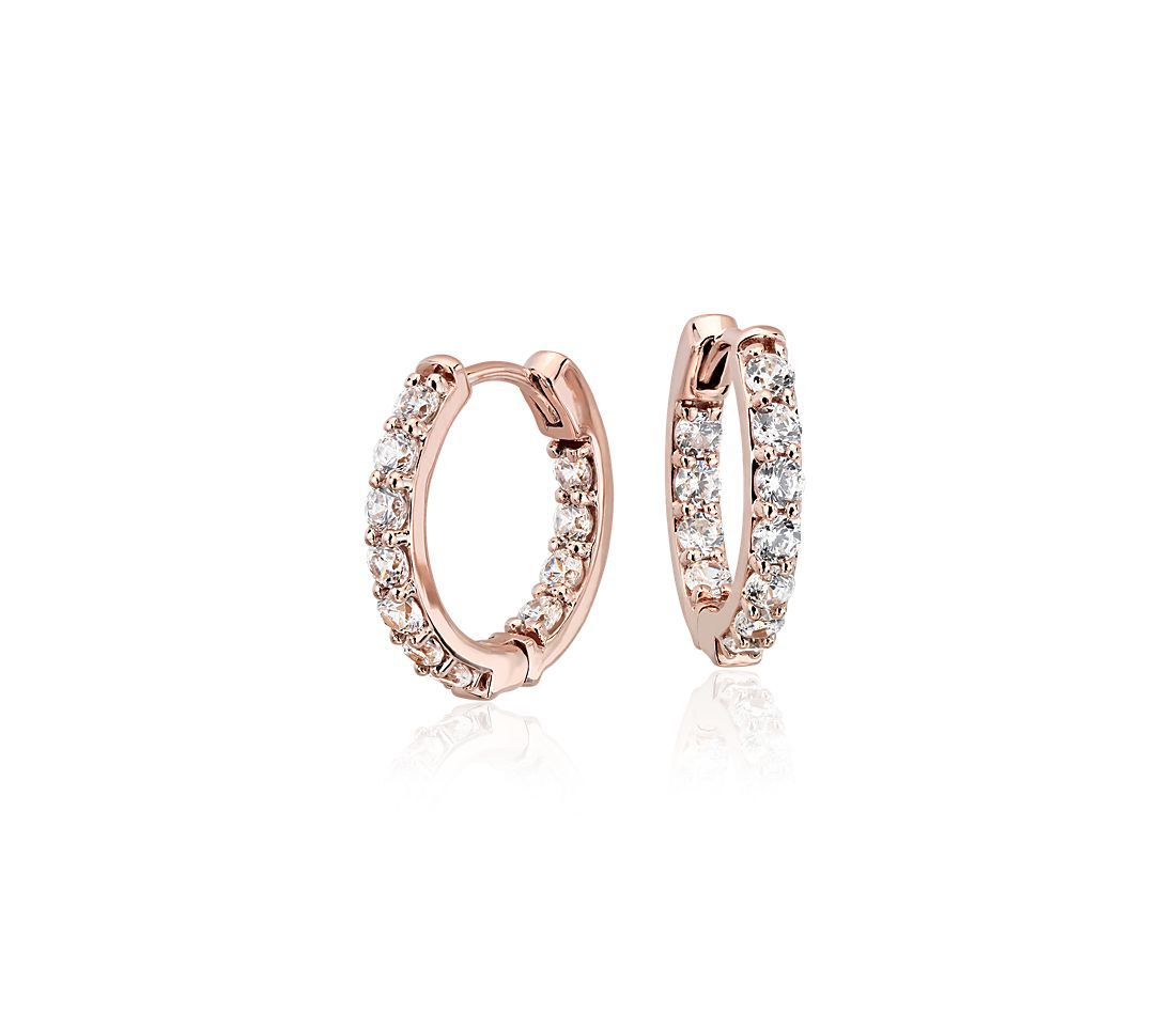 Monique Lhuillier Diamond Hoop Earrings in 18k Rose Gold