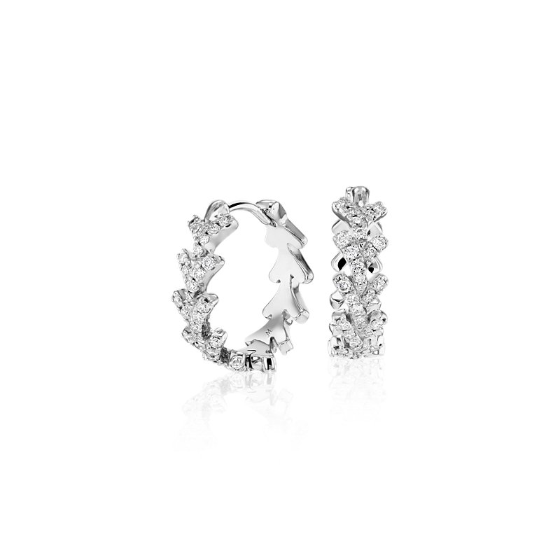Monique Lhuillier Laurel Diamond Hoop Earrings in 18k White Gold