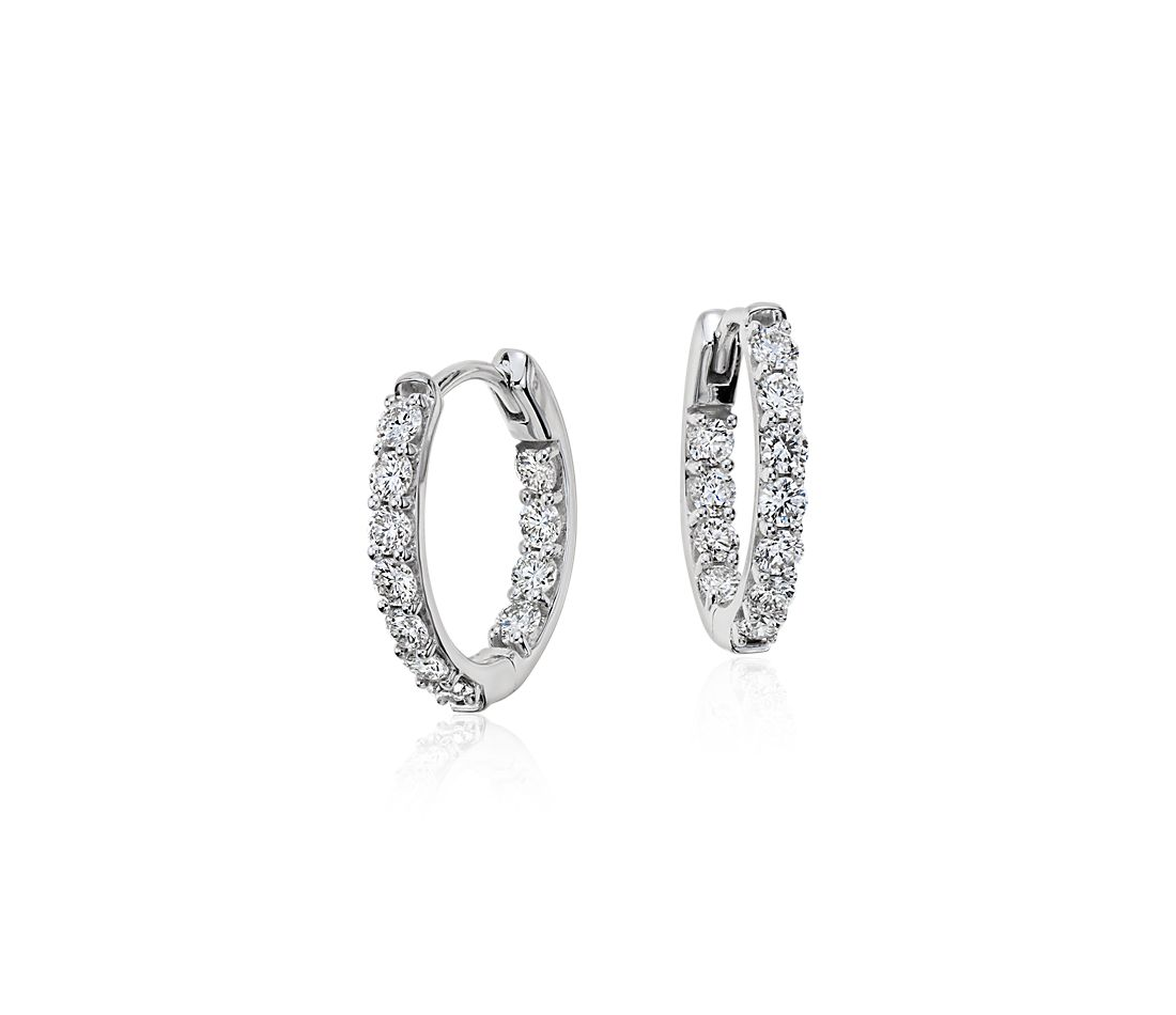 Monique Lhuillier Diamond Hoop Earrings in 18k White Gold