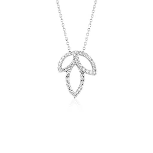 monique lhuillier diamond leaf necklace in 18k white gold