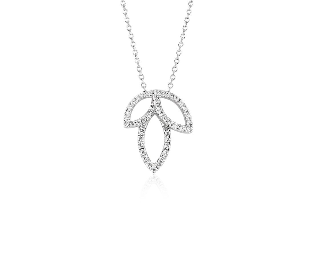 Collier feuille diamant Monique Lhuillier en or blanc 18 carats (1/4 carat, poids total)