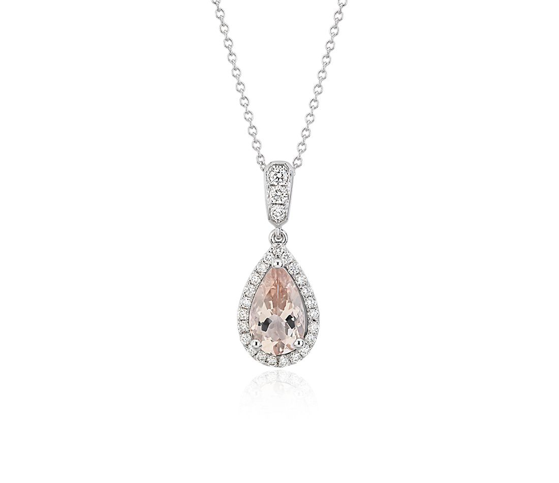 Monique Lhuillier Beloved Pendant with Pear-Shaped Morganite in 18k White Gold