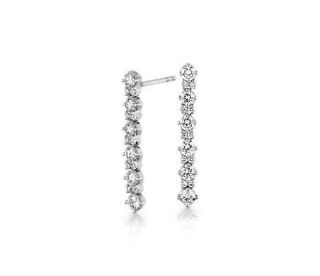 Monique Lhuillier Diamond Round Linear Drop Earrings in 18k White Gold