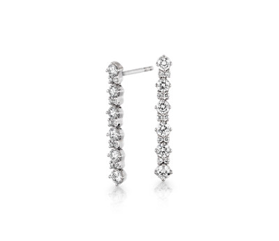 Monique Lhuillier Diamond Round Linear Drop Earrings in 18k White Gold